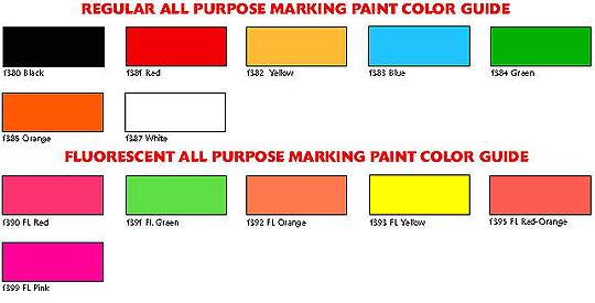 Aervoe construction marking paint color chart